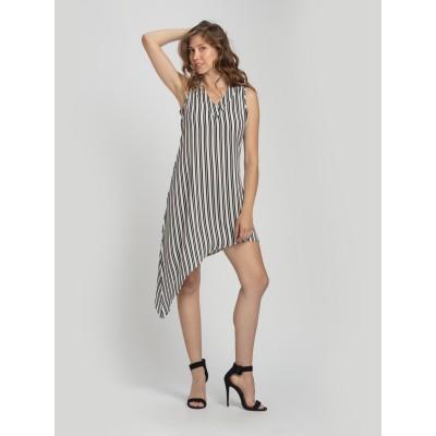 Bluberry Women's Ruth Stripe Black V Neck Dress