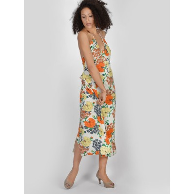 Bluberry Women's Celeste Orange and Cream Long Dress