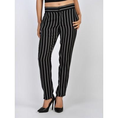 Bluberry Women's Rebecca Black and White Stripe Pants