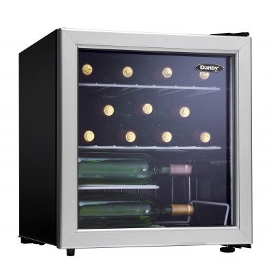 Danby 17 Bottle Wine Cooler, Platinum with Black
