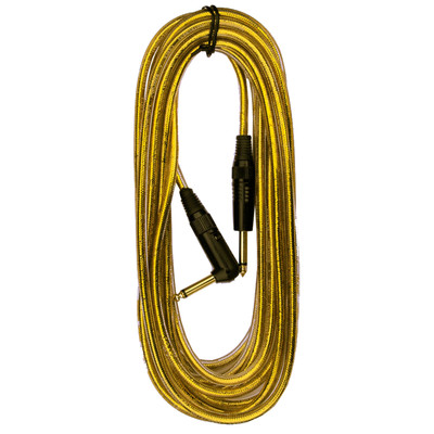 """RockCable 1/4"""" 6m/20' Gold Angled Guitar/Instrument Cable - 30256D7G - RockCable - RCL 30256 D7GLD"""