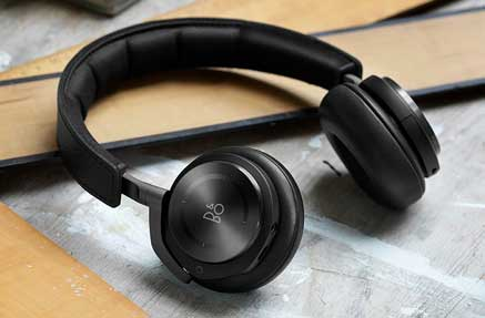 A pair of Bang & Olufsen headphones in black