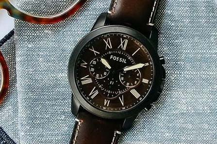 Close up of a Fossil watch
