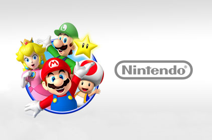 Nintendo characters on a grey background
