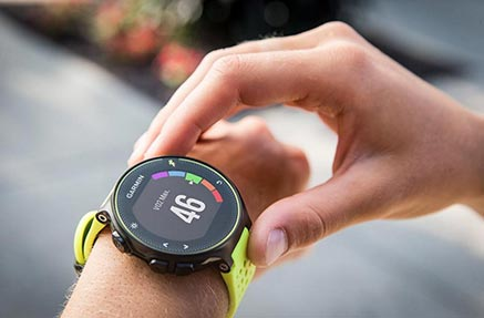 A person tracking themselves on their gps wrist watch