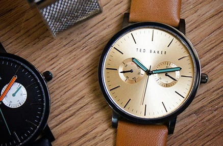An elegant mens ted baker watch with brown leather strap