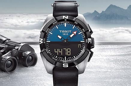 A tissot sports watch against an arctic backdrop