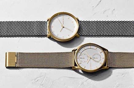 Two side by side chain skagen watches in silver and gold